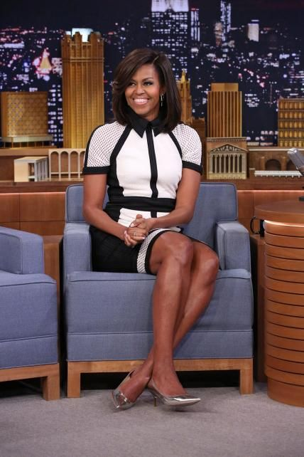 Michelle Obama's Best Looks Ever - 2015 – Tadashi Shoji | The First Lady donned a chic black-and-white graphic Tadashi Shoji dress that featured a black collar and cutouts on the shoulders and near the hemline for an appearance on the Tonight Show.