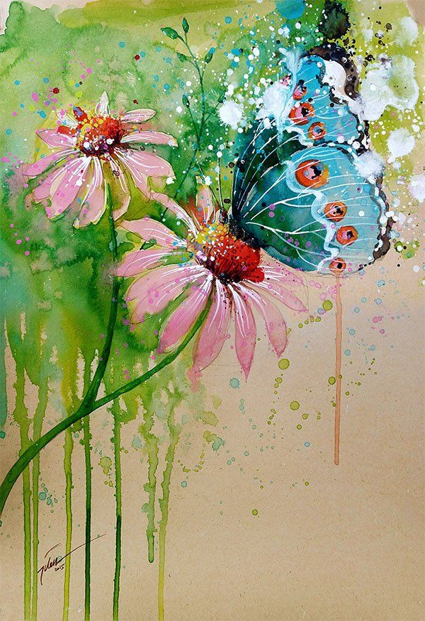 Tilen Ti Butterfly Watercolor With Gouache Painting A4 Art