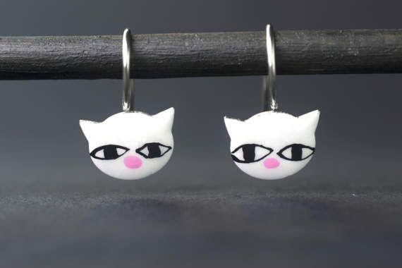 Cat Earrings for Girls Whimsical Jewelry Enamel by CinkyLinky