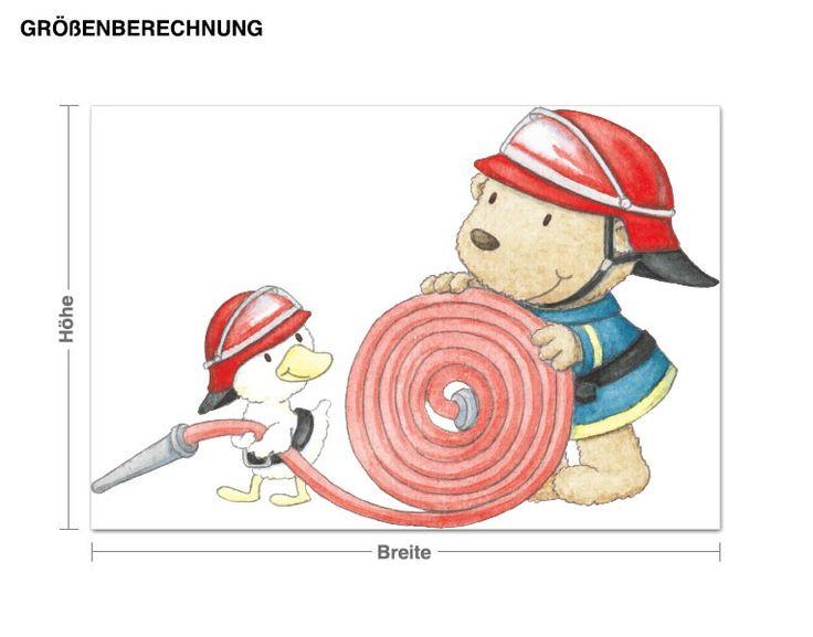 Cute Wandtattoo Pitzelpatz und Schnaddeldatz als Feuerwehr