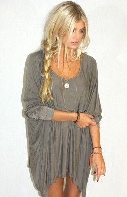 Love long shirts. So universal!: Blonde, Hair Colors, Shirts, Outfit, Messy Braids, Loo Braids, The Dresses, Side Braids, Grey Dresses