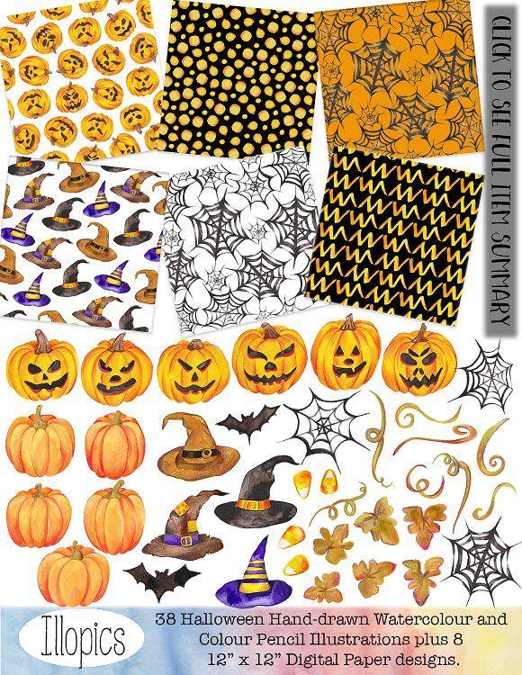 Halloween Watercolour Clip Art  by Illopics on @creativemarket