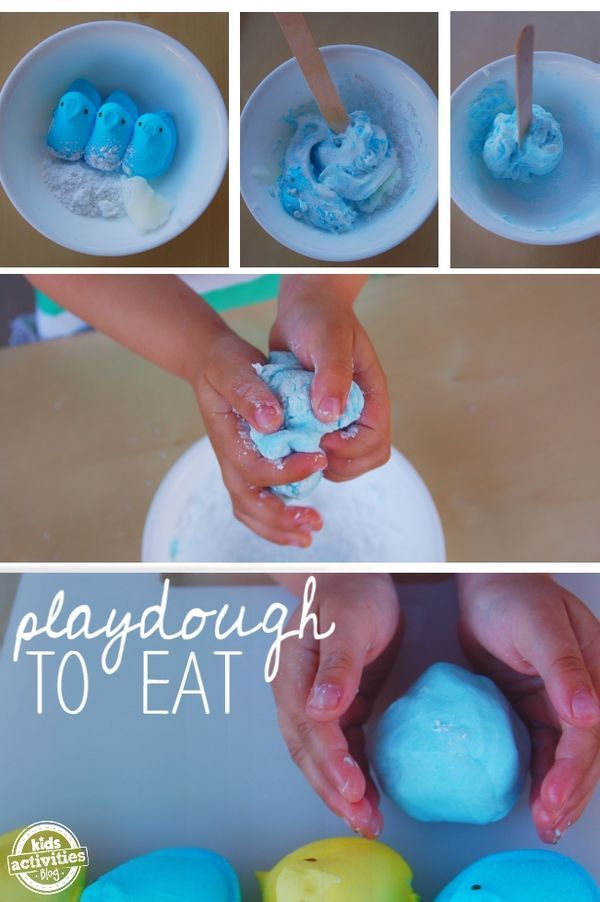PEEPS Edible Play Dough - have leftover Easter PEEPS?  Here is a fun way to play! #playdough #kidsactivities