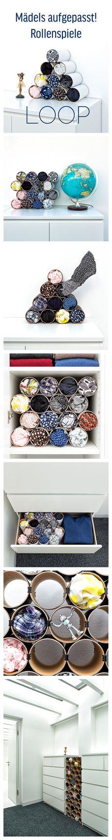 Jetzt kommt LOOP das Schalregal!  Flexibel, erweiterbar, stylish, ökologisch … bietet es Schals & Co ein Zuhause.      #Ordnungmusssein #Ordnungssinn #Ordnungsliebe #Schal #Tuch #Tücher #Schalregal #SchalAufbewahrung #TücherAufbewahrung #Loop #Ordnungsliebe #Scarfs #Malm #Ikea #Komplement #organisieren #SchalSammlung #TücherSammlung #Röhre #Röhren #Rollen #Karton #Pappe #Ordnung #Aufräumen #Aufbewahren #Rack #Schalrack #MarieKondo