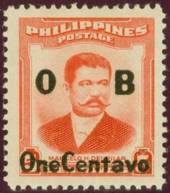 1959, January 11.  Marcelo H. del Pilar Surcharged (Definitive & Official); 1952 M.H. del Pilar Overprinted in Black; 1c on 5c O.B. - Singles, Sheets of 100.