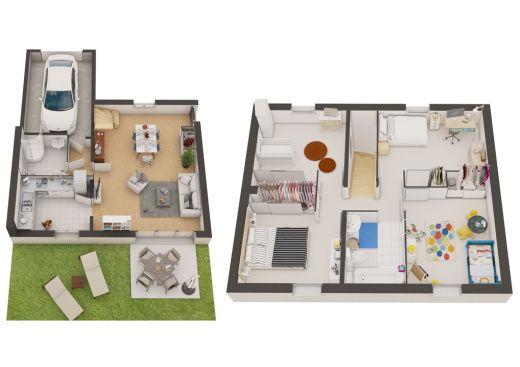 rdc et r+1 des plans de vente 3D d'une maison