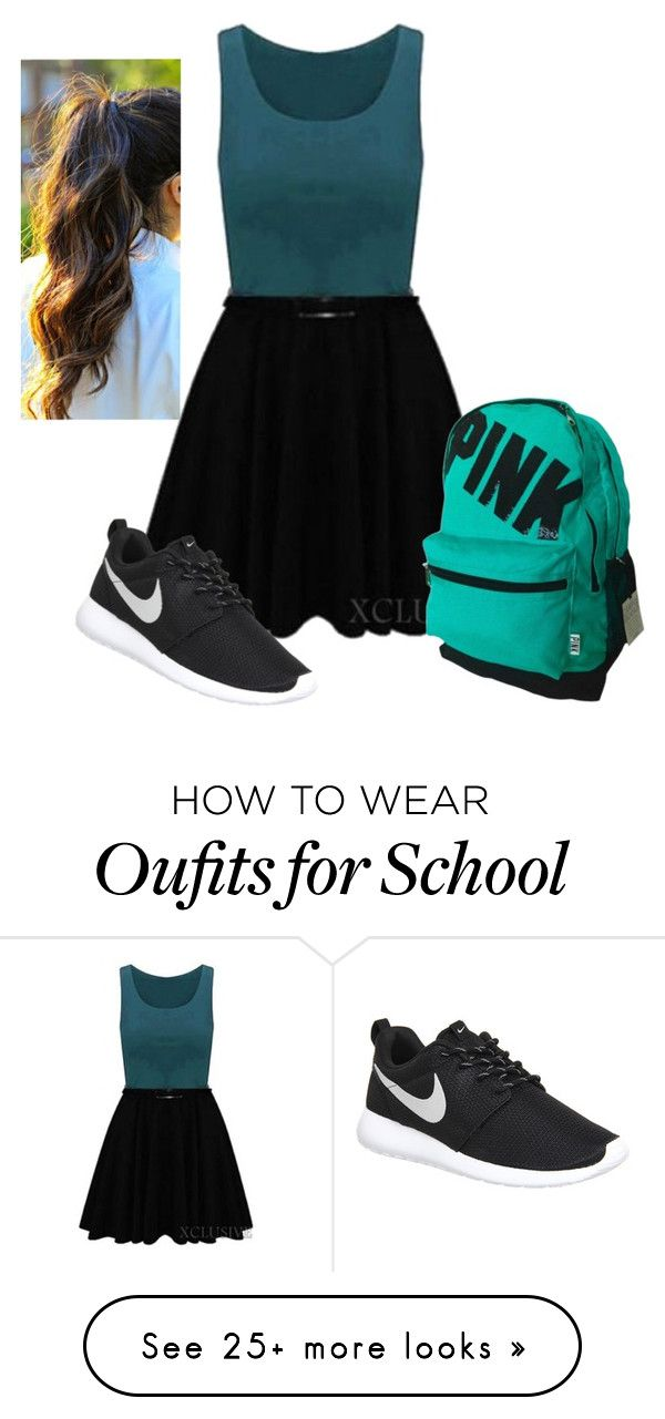 """""""Casual School Day"""" by kayleecat124 on Polyvore featuring moda, NIKE, women's clothing, women's fashion, women, female, woman, misses ve juniors"""