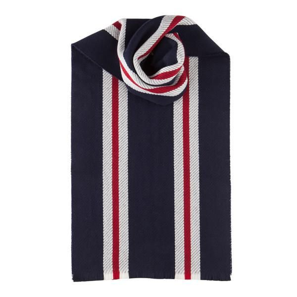 Merino Wool Scarf with Red Stripes in Blue