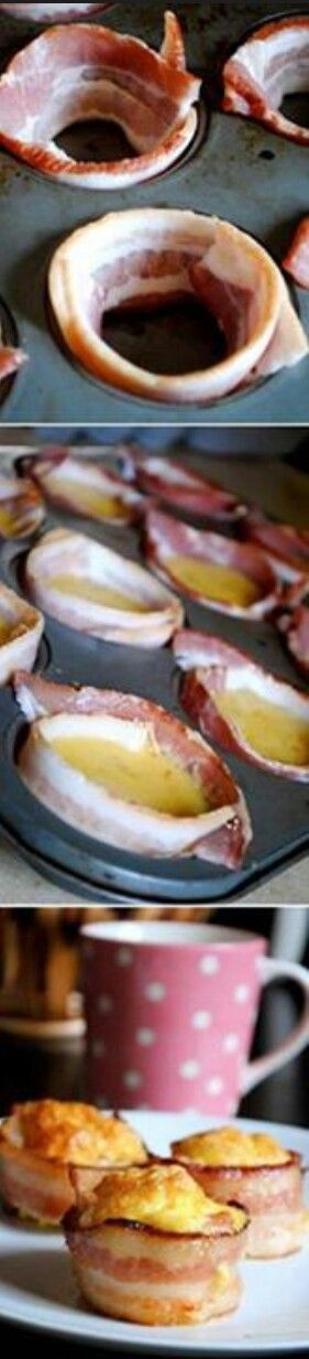 10/1814 - made these and were easy to do. I used the liquid egg yolks and whites, 1.5 cups of each. This made 12 muffins perfectly. I tried two versions. This one where you wrap the bacon around the tin and one where the bacon was crumbled and placed on the bottom. I didn't find much difference except the bacon was a little more crisp in the crumbled version.