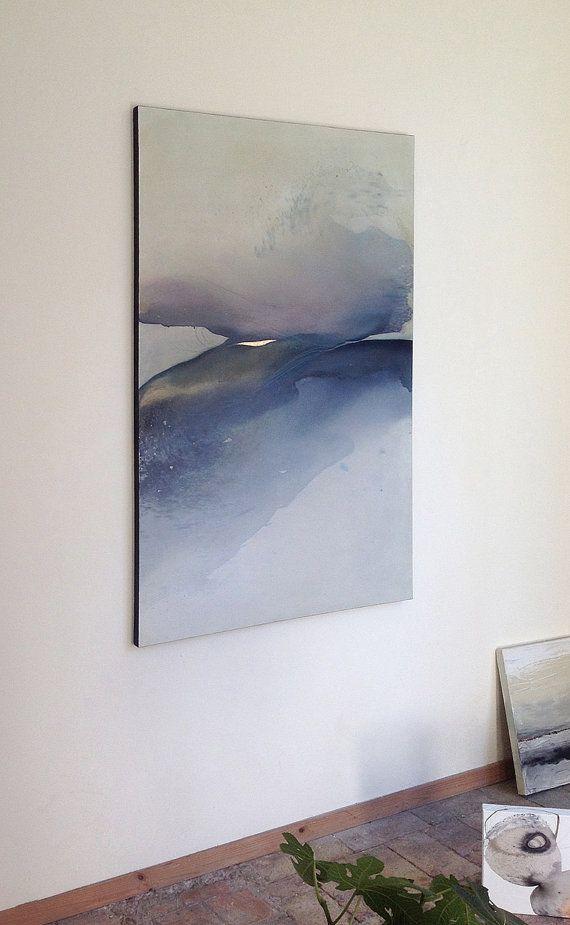 Large Landscape Original Painting on Canvas Blue von SabrinaGarrasi