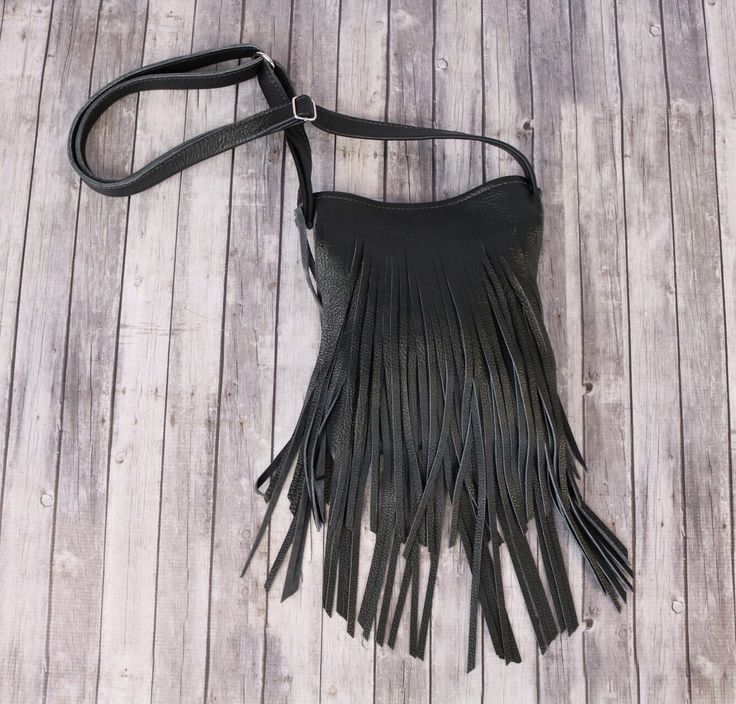 Boho Black Leather Fringed Purse / Black Leather Purse / Fringe Handbag / Black Leather Crossbody / Small Black Crossbody by RusticMoonLeather on Etsy https://www.etsy.com/listing/247078335/boho-black-leather-fringed-purse-black