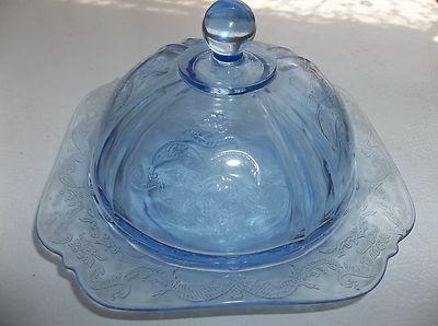 Vintage Federal Blue Depression Glass Madrid Domed Butter Dish