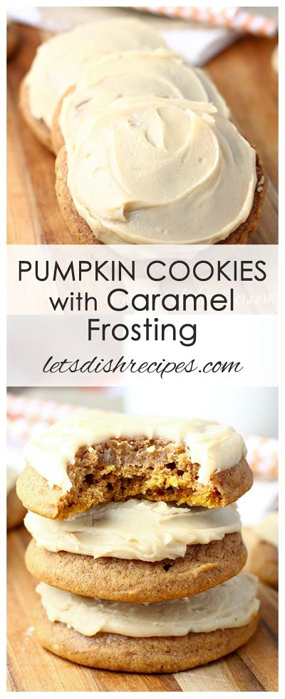 Pumpkin Cookies with Caramel Frosting Recipe | Soft pumpkin cookies with a cooked caramel frosting.