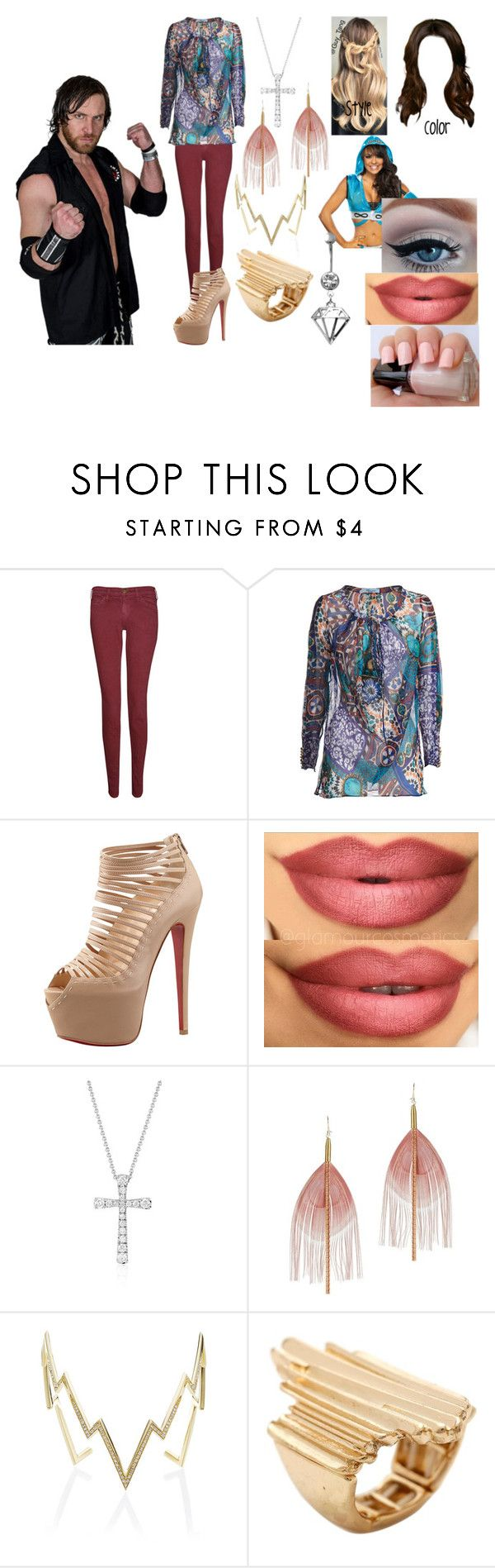 """""""The Viper Sister (Chris Sabin Love Story)"""" by anaeve ❤ liked on Polyvore featuring Current/Elliott, Blumarine, Christian Louboutin, Blue Nile, Serefina and Venyx"""