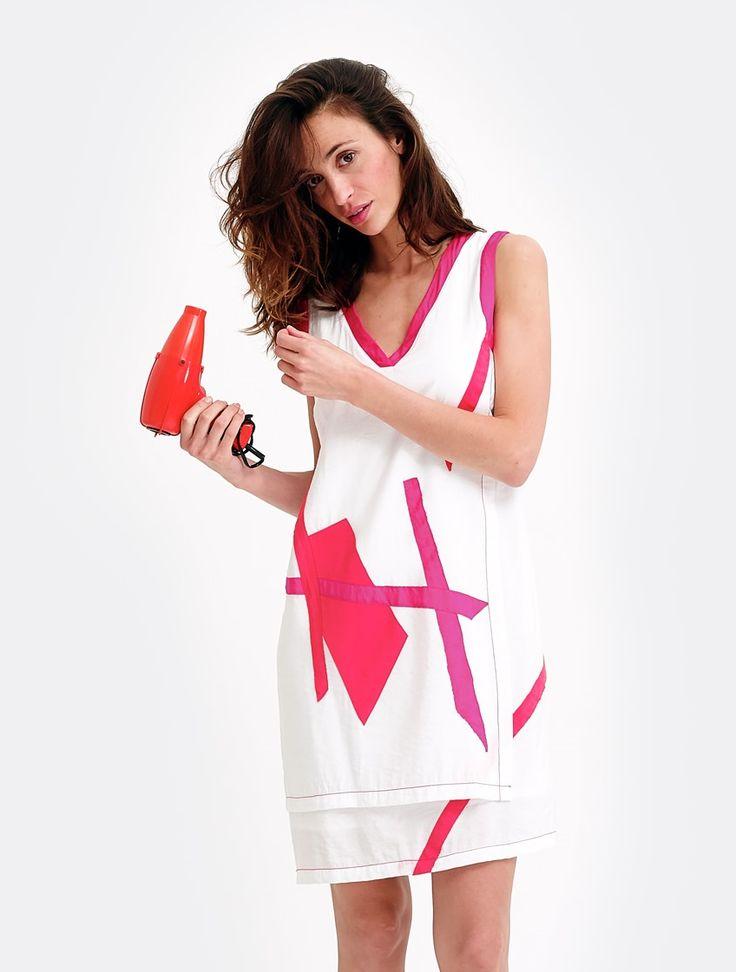 Robe graphique et colorée, rose, originale pour femme : Color