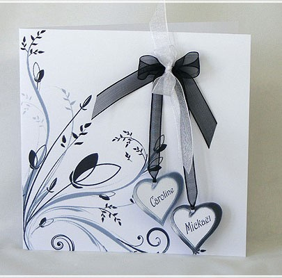Faire Part Mariage Fleur et Coeur FPH001