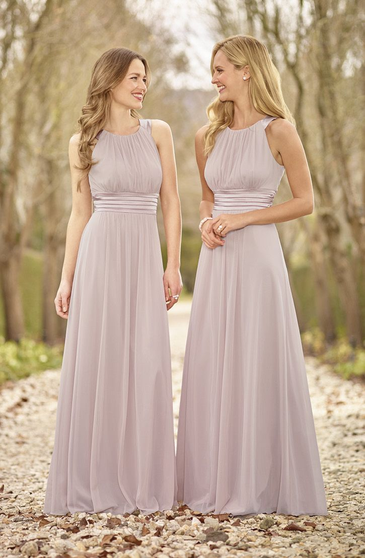 High twist chiffon stretch satin bridesmaid dress