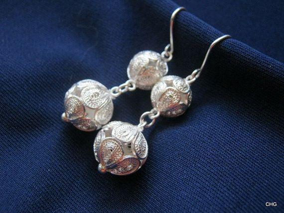 Handmade Sterling Silver Filigree Earrings by TrulyFiligree