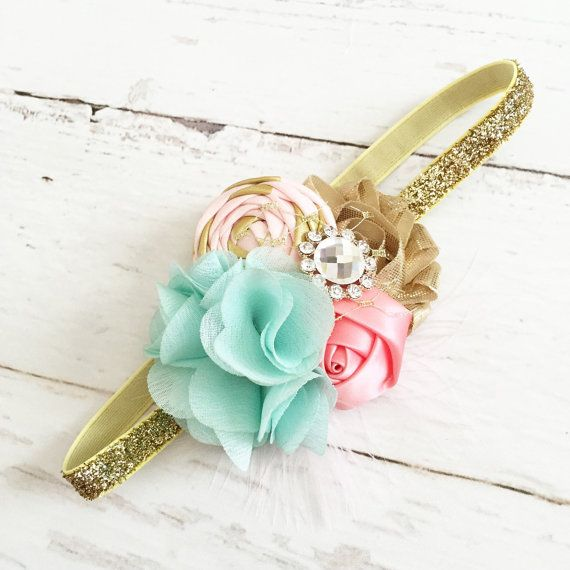 Gold pink aqua/mint coral headband // pink by Goldfeatherboutique