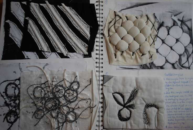 I began by observing the surface and textures of random objects before developing these textiles samples. I worked with monochrome colours t...