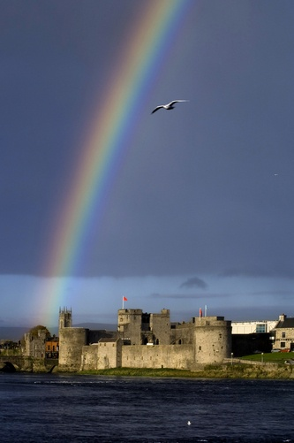 A rainbow over King John's Castle in County Limerick.
