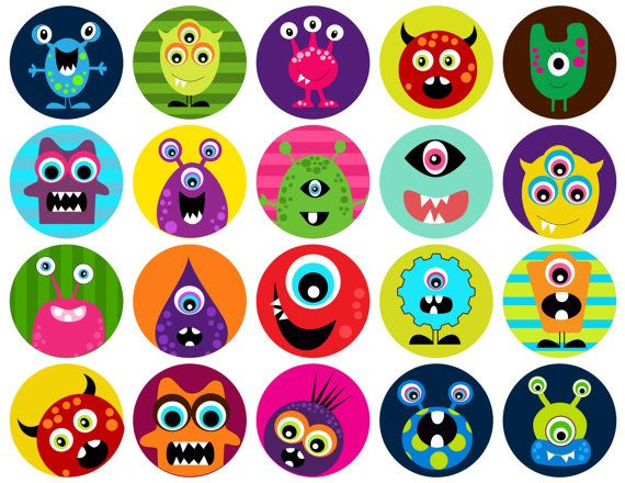 Monsters - one 8.5x11 inch digital sheet of 2x2 inch round images for glass tiles, cake toppers, magnets etc. $2.25, via Etsy.