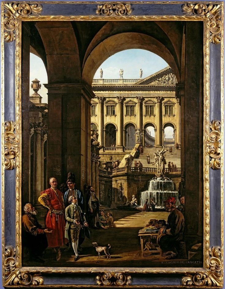 Entrance to a palace with portrait of Franciszek Salezy Potocki and his son Stanisław Szczęsny by Bernardo Bellotto, 1763-1764, El Paso Museum of Art
