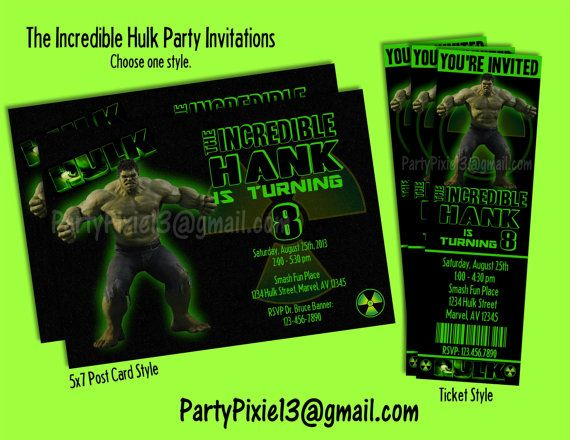37 best images about incredible hulk party – Hulk Party Invitations
