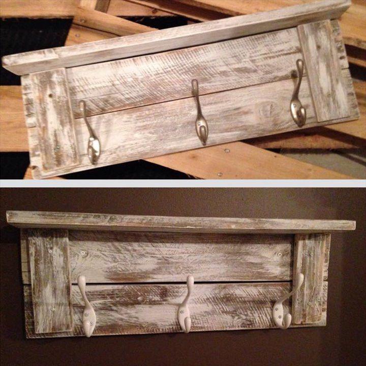 Pallet wall shelf with hooks