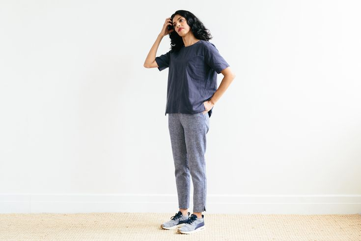 Waffle Slim Pant in Blue