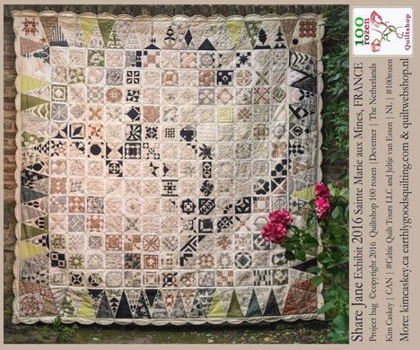 Een fat quarter met de afbeelding van de Share Jane quilt. Bestellen noodzakelijk ivm de beperkte voorraad. - Quiltshop 100 rozen, Walstraat 90, Deventer, NL