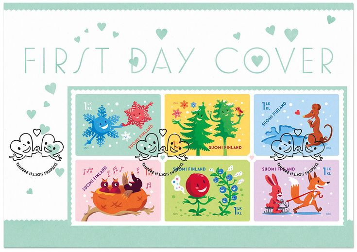 Valentine's Day post stamp illustrated & designed by Ilja Karsikas for the Finnish Post, 2015