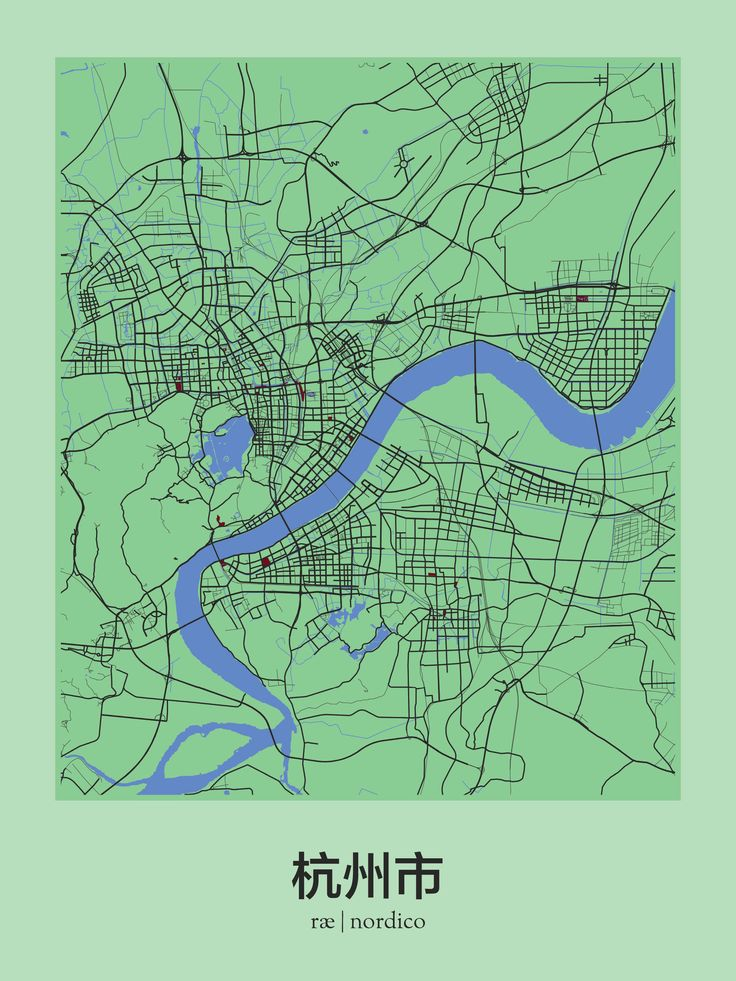 Hangzhou China Map Print maps Pinterest