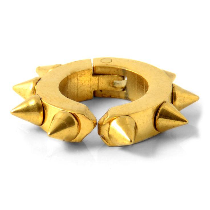 Guldfarvet spike ørering - 99,00kr