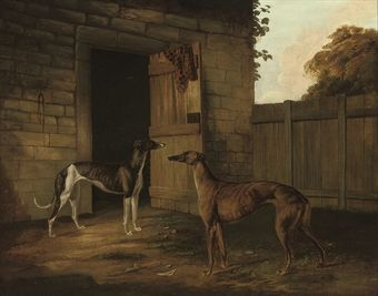 Circle of Samuel Spode  Two greyhounds outside a stable