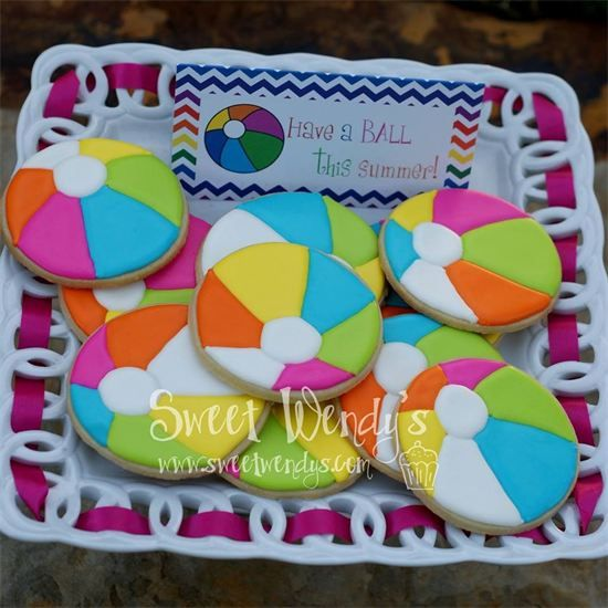 Beach Ball Cookies - Sweet Wendy's