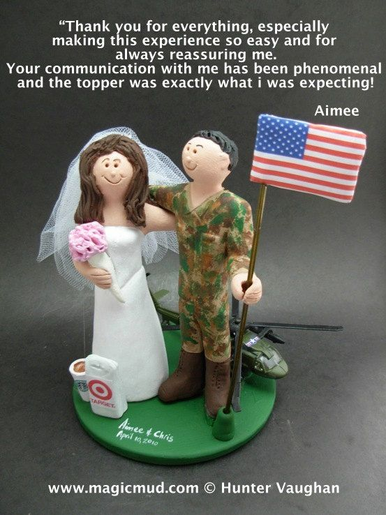 Army Pilot's Wedding Anniversary Gift, Military Wedding Anniversary CakeTopper,    Army, Soldier's, Military, Air Force, Navy Wedding Cake Toppers custom created for you! Perfect for the marriage of an Army Marine Groom and his Bride! Simply email or call toll free with your own info and pictures of yourselves, and we will sculpt for you a treasured memory from your wedding!    $235 #magicmud 1 800 231 9814 www.magicmud.com