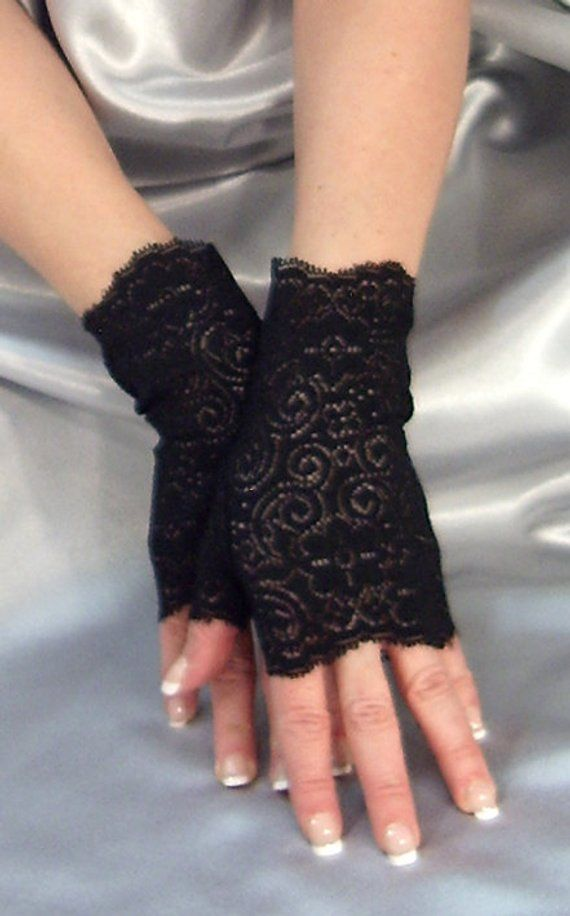 MADAME FANTASY LONG BLACK VELOUR LACE UP FINGERLESS GLOVES ARM WARMERS RIBBON