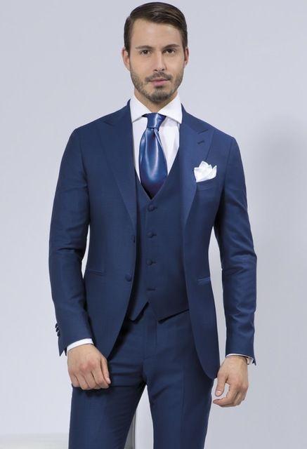 Azul marino trajes de boda Para hombre chal solapa del novio esmoquin trajes de boda Para