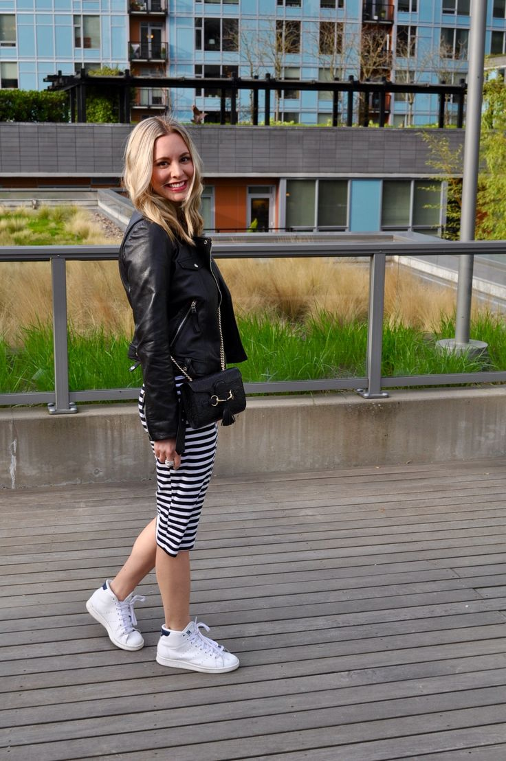 Striped midi dress + leather biker jacket + Stan Smith sneakers. (Via Confessions of a Product Junkie blog.)
