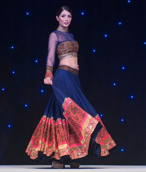 manish malhotra blue gold bronze pink lengha choli indian bride