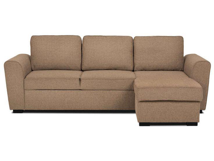 Canapé d'angle fixe réversible 4 places ASTON coloris beige chiné - pas cher ?…