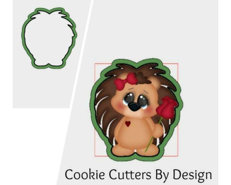 Valentine's Cookie Cutter / Hedgehog Cookie Cutter / Rose Cookie Cutter / 3D Printed Cookie Cutters / Cookie Cutters by CookieCuttersByDsgn on Etsy
