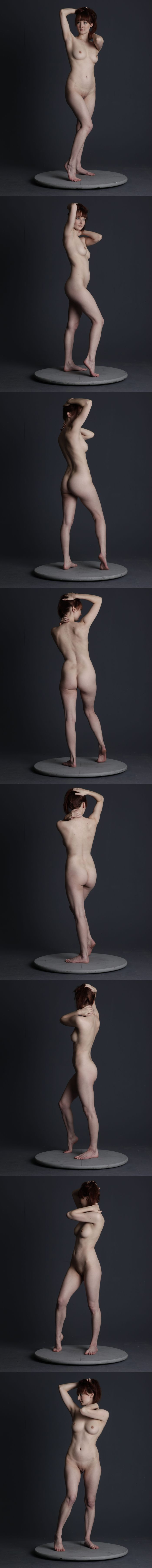 Nude figure drawing pose reference turn-around by http://mjranum-stock.deviantart.com