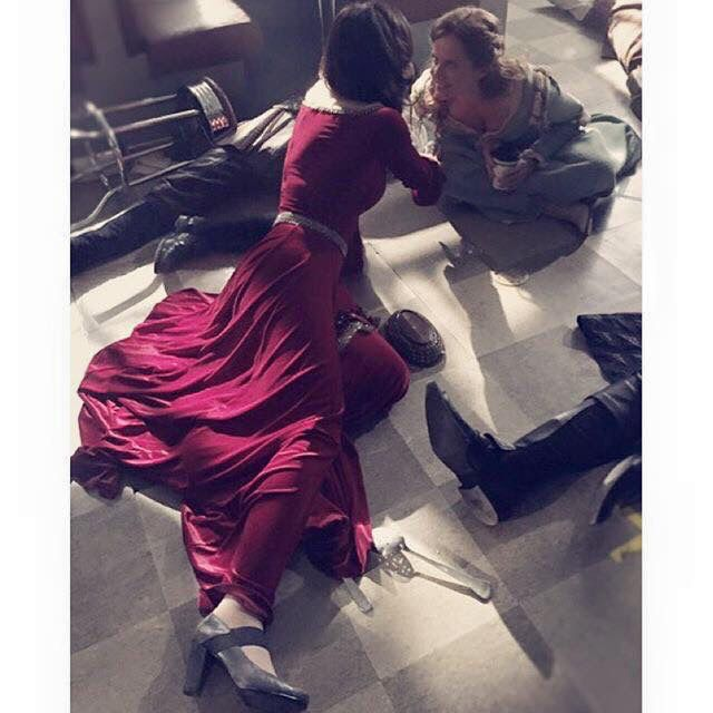 Awesome Lana and Rebecca (Bex) (Regina and Zelena) #Once #BTS Regina and Zelena in a lock-in in Granny's Diner in Storybrooke Maine during an overnight shoot the awesome Once possibly #Nimue #Steveston Village #Richmond Vancouver BC 9-2015