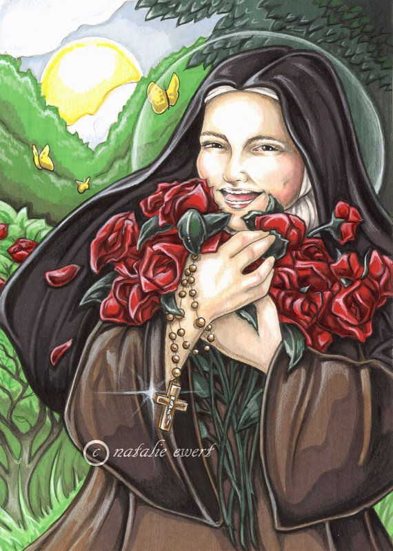 Laughing Saint Therese & Roses Signed Art by natamon on Etsy