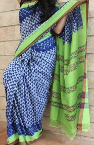 Android Green with Imperial Blue Handwoven Pure Pochampally Ikkat Saree