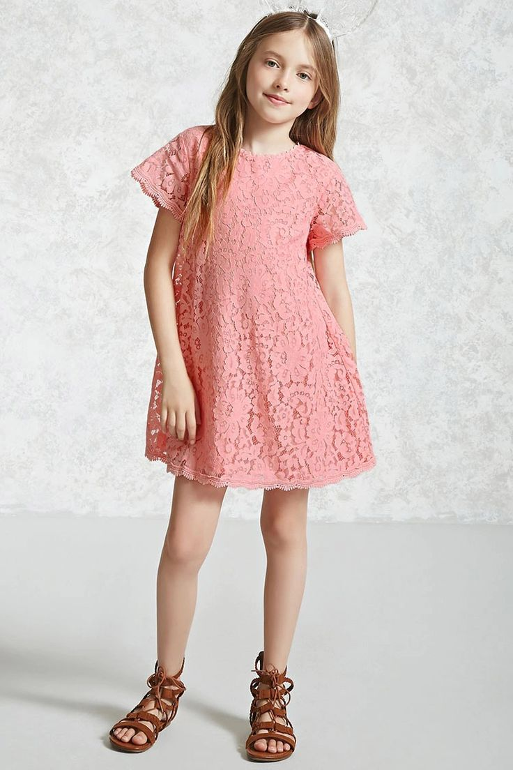 Forever 21 Girls - A woven swing dress featuring a lace overlay, scalloped high neck, short sleeves, crochet trim, and an exposed back zip closure.