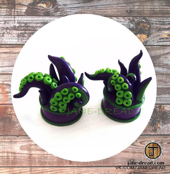 Tentacle plugs 00g / 10mm 1/2 / 12.5mm 9/16 / 14mm by JaneDread, $30.50