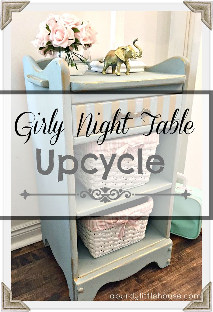 Girly night table upcycle for the Fab Furniture Flippin Challenge. I made over this little night stand into a cute vintage girls piece at apurdylittlehouse.com